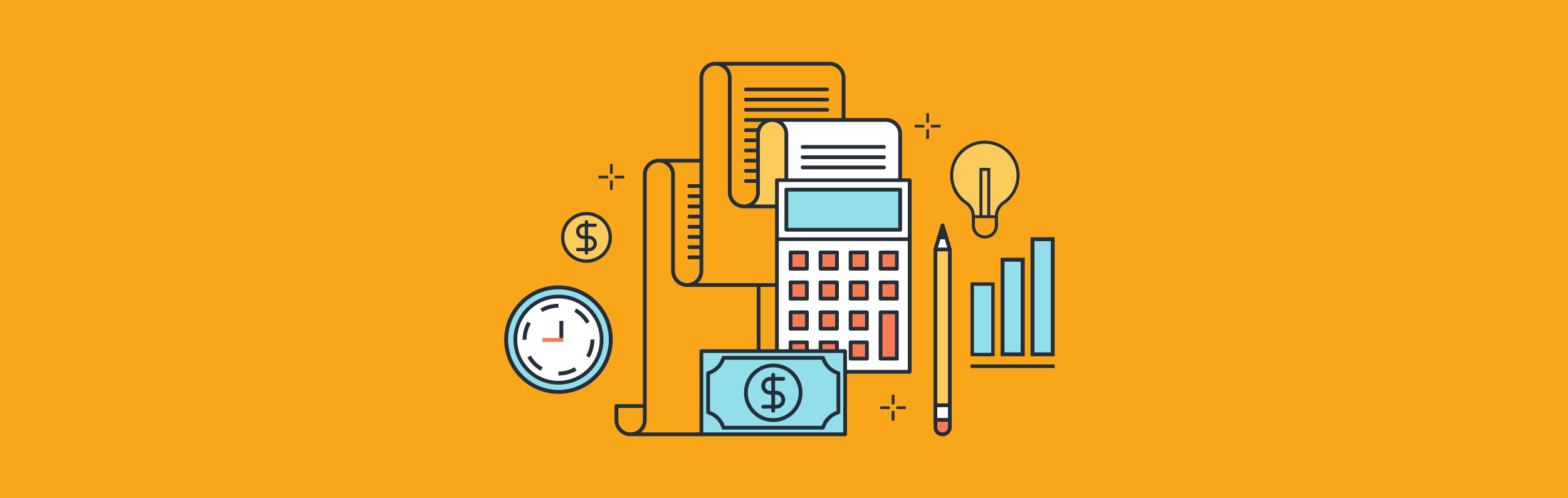 Tax illustration with a clock, calculator, pencil, paper and more.