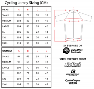 Sizes of jersey's